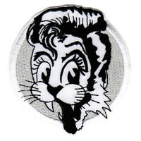 ROCKABILLY CAT PATCH EMBROIDERED IRON ON psychobilly retro greaser hot rodder