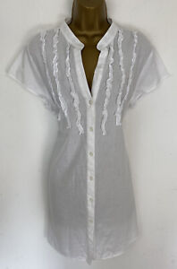 Wallis Top White Cotton Button Ruffle Front Longline Cap Sleeve UK 18