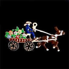 CG0151...ENAMELLED HORSE & CART BROOCH or PENDANT - FREE UK P&P