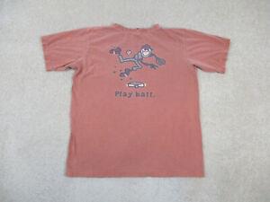 Life Is Good Shirt Youth Extra Large Orange Gray Play Ball Jake Kids Boys *