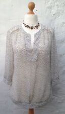 NEXT Size 16 Semi-Sheer 3/4 Sleeved Patterned Y-Necked Top