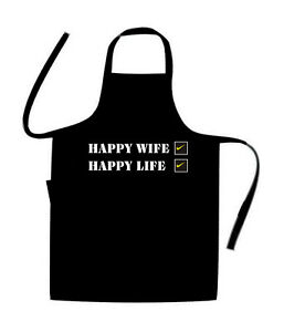 Happy WIFE / HAPPY LIFE / NOVELTY cooks / Chefs Apron / BIRTHDAY / BBQ / HOLIDAY