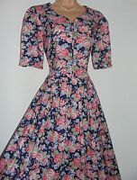NWT Laura Ashley vintage navy floral full pleated summer tea dress, size 12 UK
