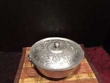 Nasco Italy Hammered Aluminum Bowl w/Lid Floral Design 8""