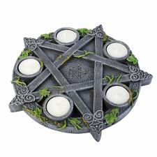 Pentagram Tea Light Holder 25cm Wide Candle 5 Tea Lights Wicca Nemesis Now