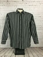 *Noiz Men's Big & Tall Button Down Striped Cotton Dress Shirt, Black/White 2XL