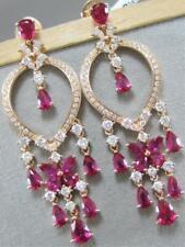 LARGE FANCY DIAMOND RUBY 18K ROSE GOLD HANGING DREAM CATCHER EARRINGS 53M 300046