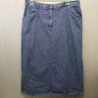 CJ Banks 20W Engineer Striped Skirt Long Modest Church Pockets Jean Denim