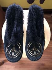 LUCKY BRAND Suede Black Slippers with Faux Fur Inside&Around Top: Size 8 VINTAGE