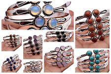 Moonstone Rose Quartz & More 925 Silver Plated Handmade Cuff Bangle Bracelets
