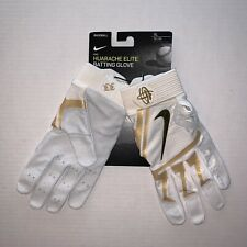 Nike Huarache Elite Batting Gloves White/Gold Size XL
