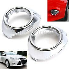 2Pcs Chrome Front Fog Light Lamp Cover Bezels Trim For Ford Focus 2012-2014