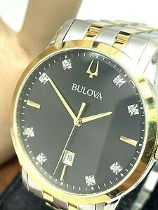 Bulova Men's Watch 98D165 Diamond Black Dial Two Tone Stainless Steel Quartz