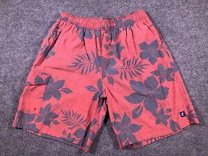 JACK O'NEILL Mens Large Red Gray Floral Elastic Waist Cargo Pocket Swim Trunks