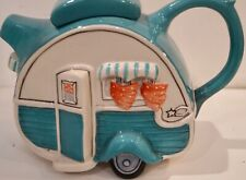 Blue Sky Clayworks Ceramic Blue Vntage Camper Tailer Teapot