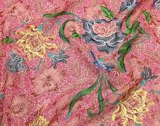 """Silk CHIFFON Fabric Hot Pink Floral 12""""x22"""" remnant"""