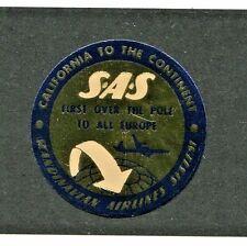 Vintage Advertising Label SAS Scandinavian Airlines 1st over the pole gold foil