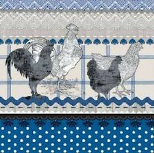 """Paper Luncheon Napkins 2 x 20pcs 13""""x13"""" Kitchen, Rural Roosters, Chicken Blue"""
