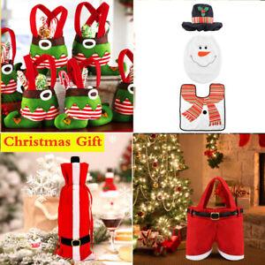 1-5PCS Christmas Wine Bottle Bags Xmas Stocking Santa Party Table Decorations
