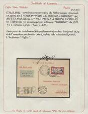 """1932 - Volo Speciale di ritorno """"Caprera-Roma"""" - Aerogramma certificato CAFFAZ"""