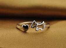 Anillo esterlina dedo apertura perro ajustable de plata brillante Lustre
