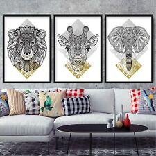 SET of 3 FRAMED Tribal Yellow Grey GEOMETRIC LINE HEAD Lion GIRAFFE Elephant
