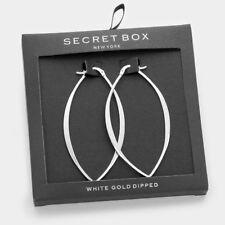 Oval Hoop Earrings Tiny Secret Gift Box WHITE GOLD DIPPED Long Thin Flat Metal