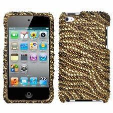For iPod Touch 4th Gen - CRYSTAL DIAMOND BLING HARD CASE GOLD ZEBRA TIGER SKIN