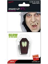 Vestito Per Halloween Vampiro Dracula Brilla Al Buio Denti Cappellini 2 x Zanne