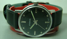 Vintage Eterna WINDING SWISS MENS Steel Black Dial Watch 132 T OLD Antique WBST