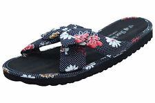 Ladies Hawaiian Floral Mule Womens Beach SLIPPER Slip on Shoes UK Size 7 / EUR 40 Botanical-black