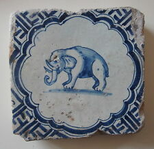 "A RARE 17th century DUTCH DELFT TILE ""ELEPHANT"" (c.1625-1650)"