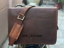 "18"" Men Genuine Vintage Graceful Leather Messenger Shoulder Laptop Briefcase Bag"