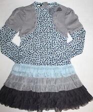 KATE MACK by BISCOTTI Cardigan Built in Dress Chasing Fireflies Girl Sz 7 Ruffle