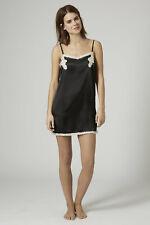 BNWT Topshop Black Satin Embroidered Pyjama Slip (Size 10) RRP £35