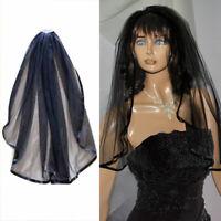 Wedding Gothic BLACK HALLOWEEN Veil Edge Comb Elbow Length Fancy Dress LAC #HN