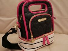 NEW Betsey Johnson Lunch Tote Insulated Bag quilted leather BLACK STRIPE BBLT015