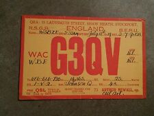 000 Rare G3QV England radio station advertisement card 1939 1D Stamp W3BZE. QSL