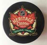 2019 HERITAGE CLASSIC LOGO PUCK NHL SOUVENIR STYLE WINNIPEG JETS CALGARY FLAMES