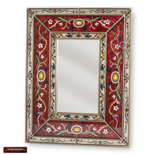 Hand Painted Glass Wood Rectangular Mirrors - Arts Crafts Large Red Mirror wall