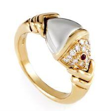 Estate Authentic Bvlgari 18K Multi-Tone Gold Diamond & Ruby Ring sz 4.5
