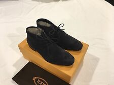 NIB Tod's Men's Lace-Up Ankle Boots in Suede Navy Blue Size 6.5