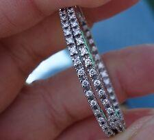 ".74ct G/VS Diamond inside out hoop 1.30"" earrings missing 1 diamond 18k WG"