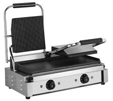 Quattro Heavy Duty Twin Contact - Panini Grill Ribbed Top - Flat Bottom Plates
