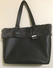 Lisa Conte' Italy Black Lambskin and Pebbled Leather with Lamb Shearling Fur NWT