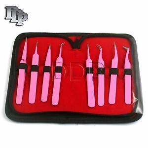 Set Of 8 Pieces Stainless Steel Pink Color Eyelash Extension Tweezers