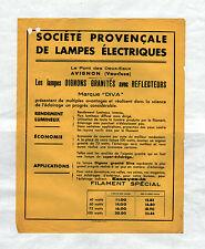 """AVIGNON (84) USINE du PONT-des-DEUX-EAUX / LAMPES ELECTRIQUES """"DIVA"""" Tract 1933"""