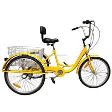 "6-Speed 24"" Adult 3-Wheel Tricycle Trike Cruise Bike Bicycle With Basket Yellow"