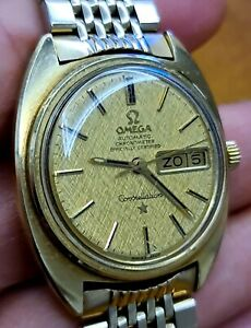 OMEGA CONSTELLATION AUTOMATIC GOLD & STEEL REF CD 168.019 GOLD LINEN DIAL 35mm