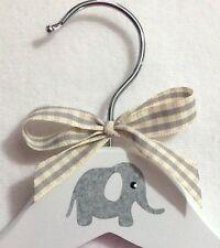 Decoupaged éléphant bébé Enfants Enfant Bébé en Bois Blanc Cintre